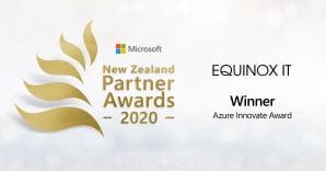 Equinox IT Winner Azure Innovate Award - Microsoft New Zealand Partner Awards 2020