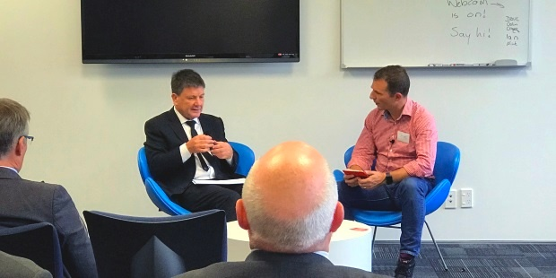 John Edwards Privacy Commission speaks with Miki Szikszai on privacy considerations for New Zealand IT companies at an NZRise event, hosted by Equinox IT