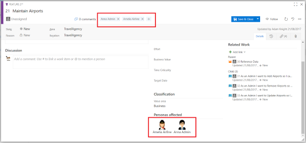 Adding Personas To Work Items In VSTS