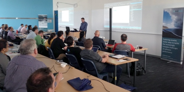 Hannes Nel of Microsoft New Zealand presents on cross-platform application development and DevOps with Visual Studio, at the Wellington Application innovation day event