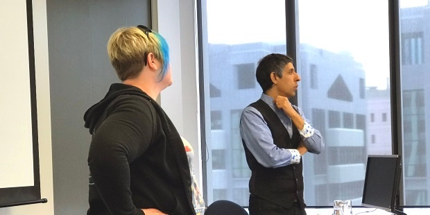 Equinox IT Senior Consultant Kirstie Eriksen with Michael Sahota at the Equinox IT 1/2 day Agile Leadership overview