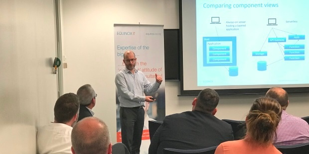 Senior Consultant Carl Douglas presenting on Serverless Computing at an Equinox IT Client Briefing