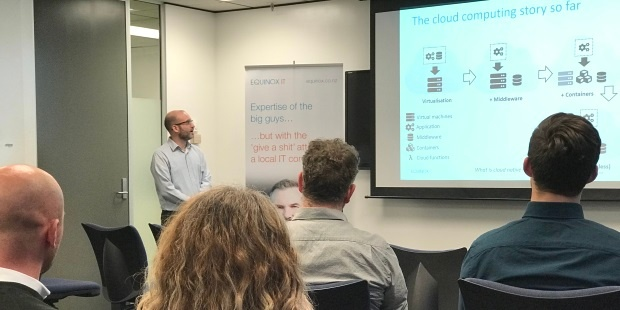 Senior Consultant Carl Douglas presents on Serverless Computing at an Equinox IT Client Briefing