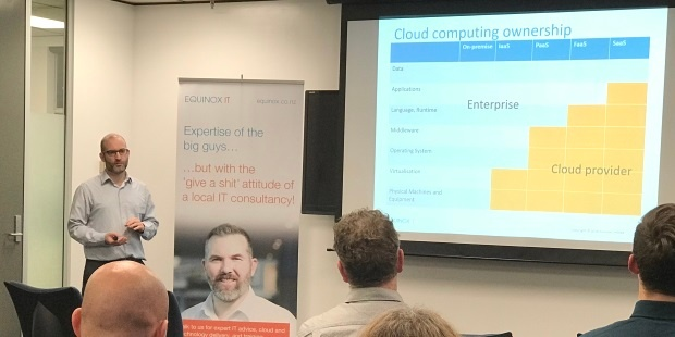 Senior Consultant Carl Douglas presents on Serverless Computing at an Equinox IT Client Briefing event