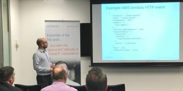 Senior Consultant Carl Douglas presenting on Serverless Computing at an Equinox IT Client Briefing event