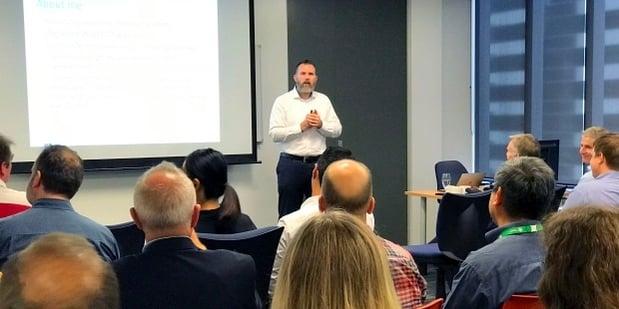 Carl Weller presents on Agile leadership roles - ScrumMaster vs PM