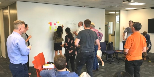 Attendees dot voting the topic options at the Certified Scrum Meetup held in October 2018 in Wellington