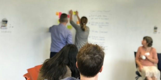 Second Certified Scrum Meetup with Julien Thomas and Kirstin Donldson grouping similar lean coffee topic items