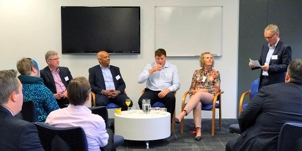 Bill Ross introducing Chris Buxton, Channa Jayasinha, Richard Ashworth and Dianna Taylor at the panel discussion