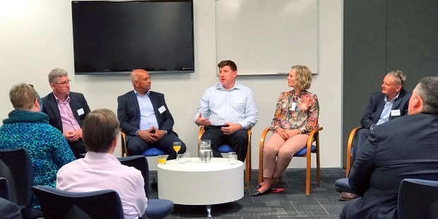 Chris Buxton, Channa Jayasinha, Richard Ashworth and Dianna Taylor participate in an Equinox IT hosted CIO panel discussion facilitated by Equinox IT Principal Consultant Bill Ross