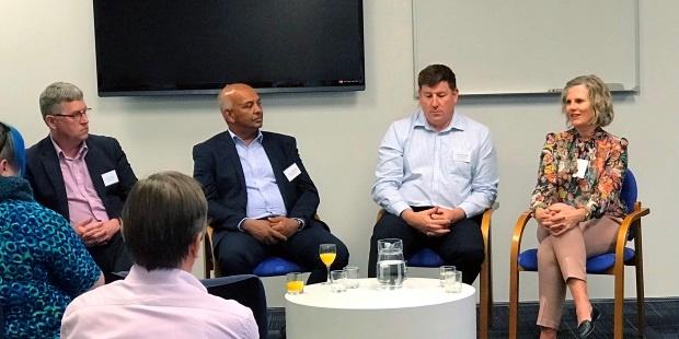 Dianna Taylor sharing ideas as part of the CIO panel discussion with Chris Buxton, Channa Jayasinha and Richard Ashworth