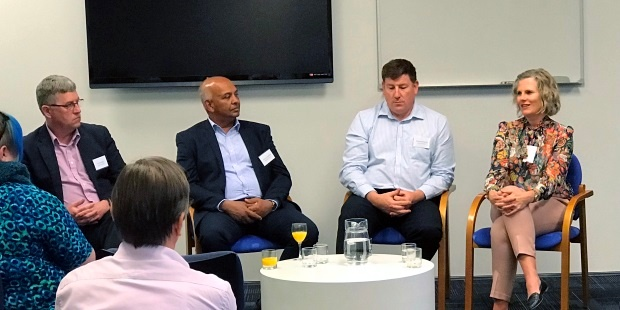 Dianna Taylor sharing ideas as part of the CIO panel discussion with Chris Buxton, Channa Jayasinha and Richard Ashworth