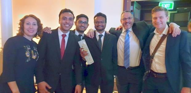 Julia Valerskaia, Nilay Bhima, Aravindh Rajagopalan, Ajit Garikipati, David Reiss and Sean Kelly of Equinox IT after winning the 'Azure Innovate Award' at the Microsoft New Zealand Partner Awards.