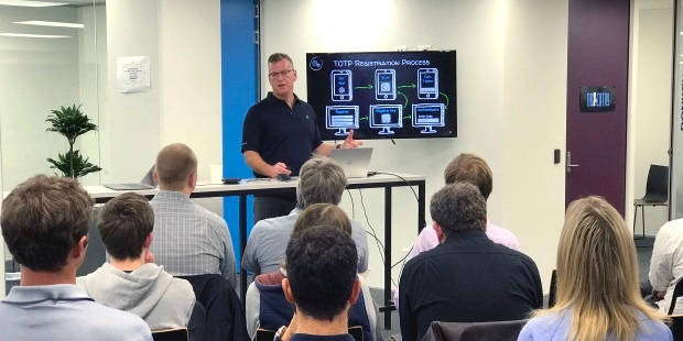 Equinox IT Senior Consultant Kevin Thomas presents on multi-factor authentication at the OWASP NZ meetup on 29 October 2018