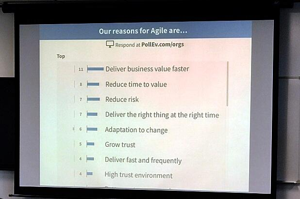Michael Sahota 'Delivering a high performance Agile Organisation' - Reasons for using Agile responses