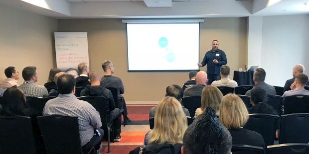 David Reiss, Equinox IT General Manager Cloud and Auckland, presenting stories of Azure DevOps adoption by New Zealand businesses