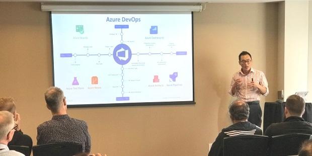 William Wang, Cloud Solution Architect, demonstrating Azure DevOps