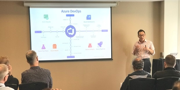 William Wang, Cloud Solution Architect, demonstrating Azure DevOps