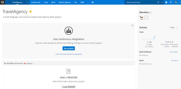 Microsoft Visual Studio Team Services Project Home