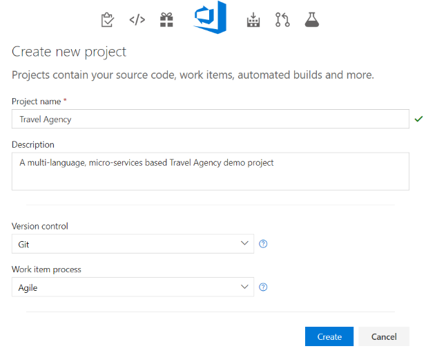 New Microsoft Visual Studio Team Services VSTS Project