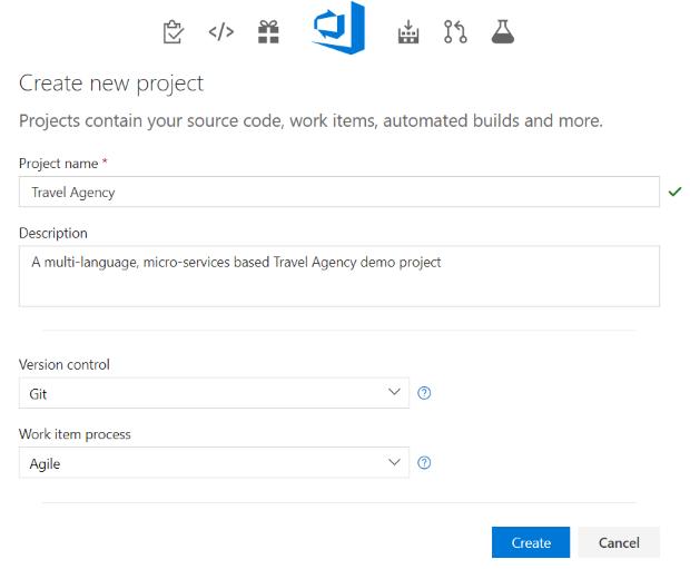 New Microsoft Visual Studio Team Services VSTS Project