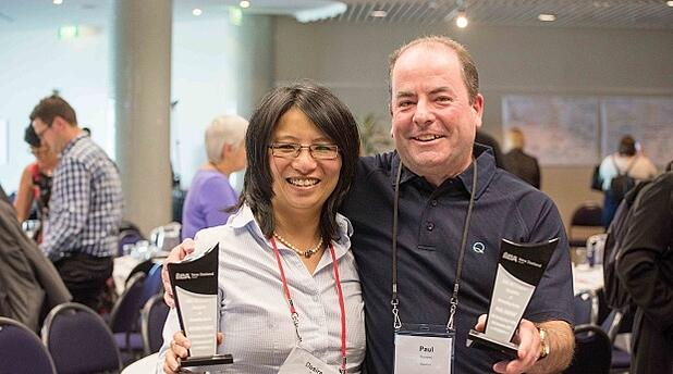 Desiree Purvis and Paul Ramsay presented with their IIBA 'Recognition of Outstanding Service' awards