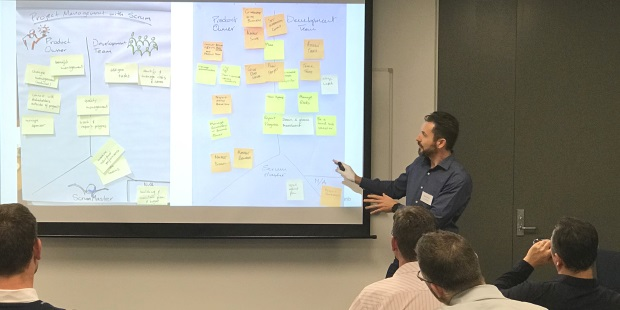 Project Manager responsibilities spread across the roles with Scrum, with Rowan Bunning