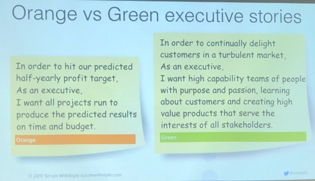 Orange vs Green executive stories