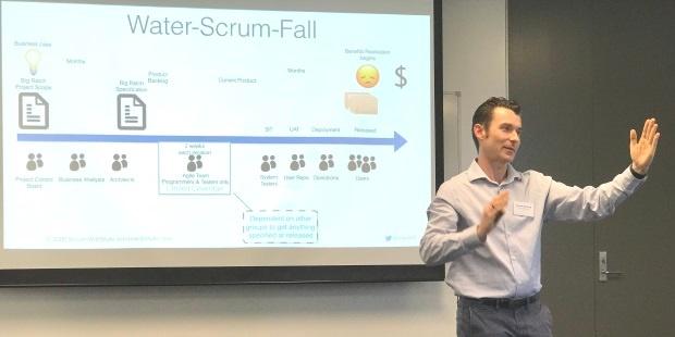Rowan Bunning talking about Water-Scrum-Fall