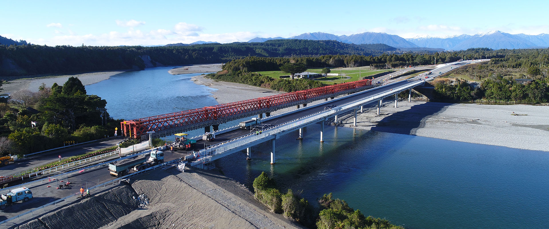 Fulton Hogan workingon Taramakau Bridge