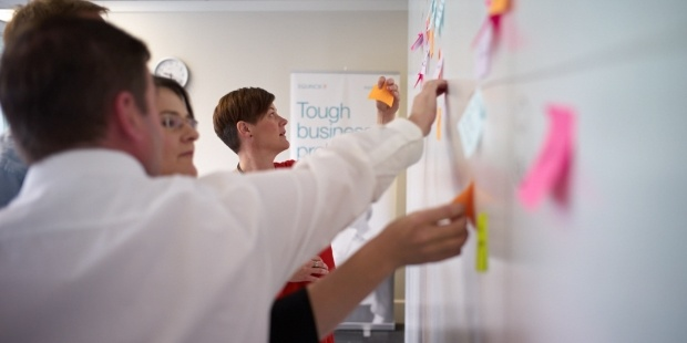 Agile development team working using Large-Scale Scrum or LeSS