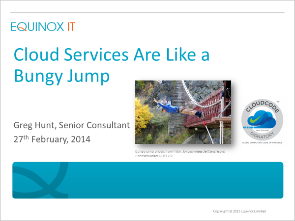 Recorded webinar: Cloud services are like a bungy jump